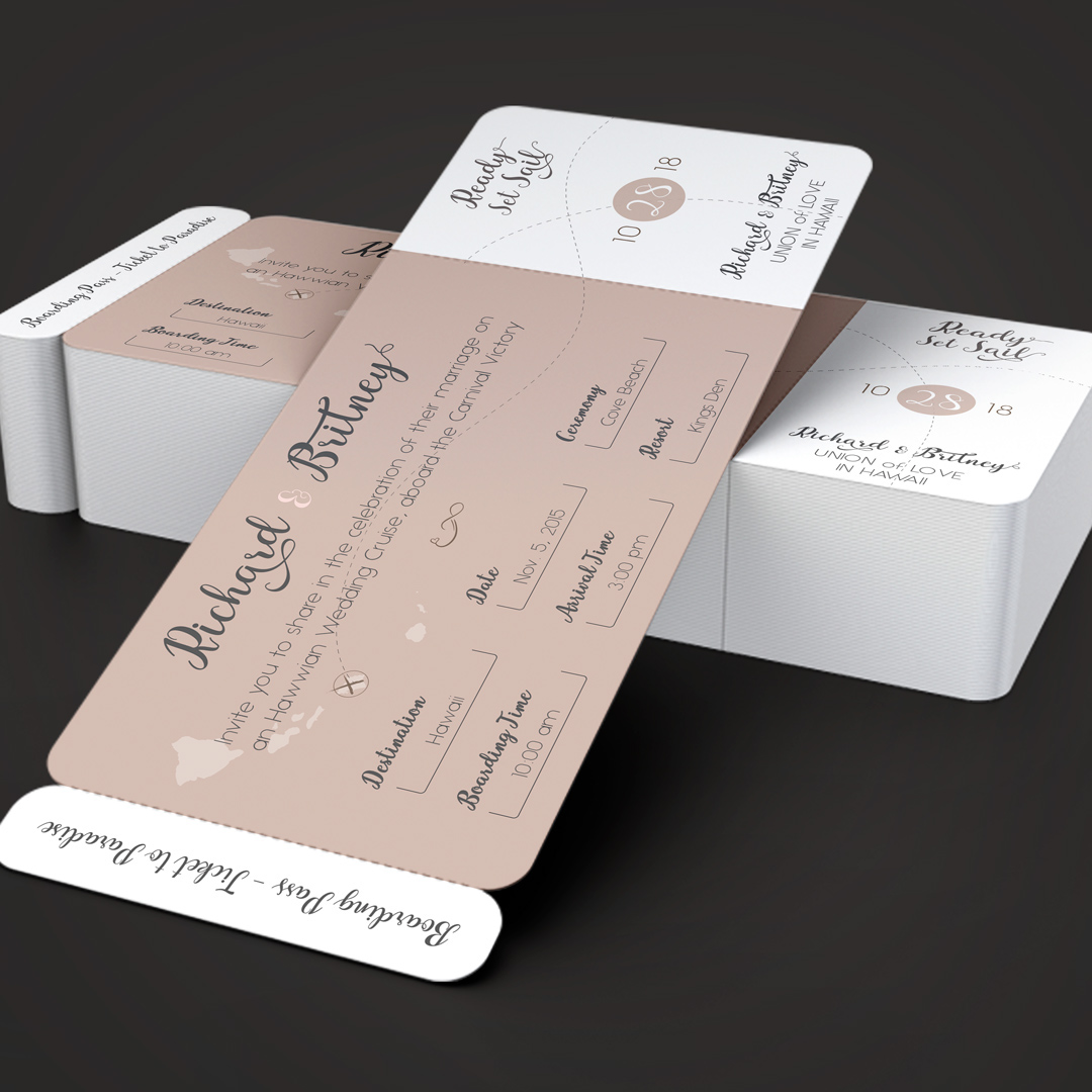 Pinky Wedding Boarding Pass Invitation Template On Behance