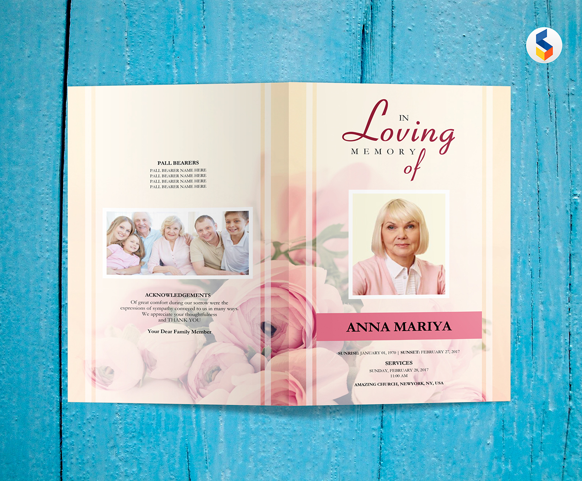 Pink Flower Funeral Program Template On Student Show