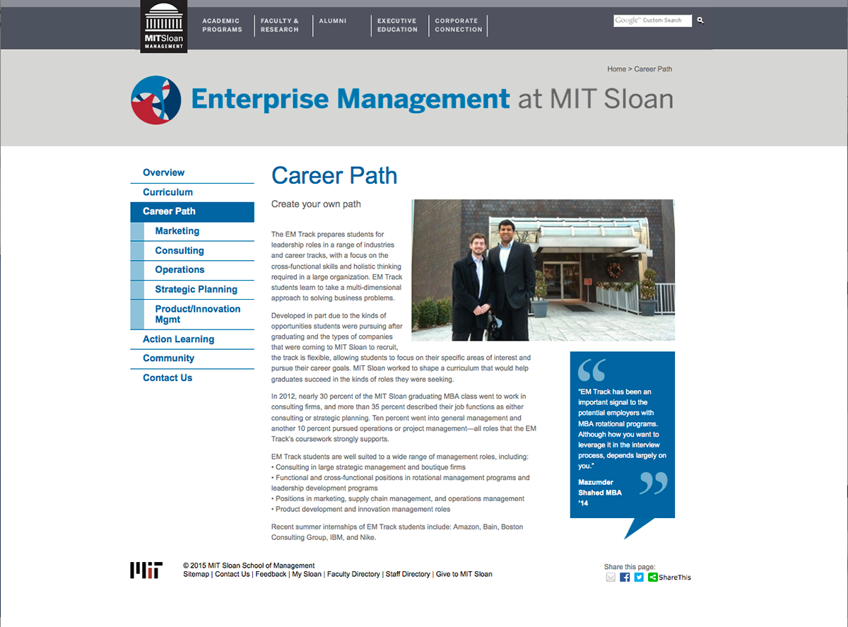 Enterprise Management Track at MIT Sloan on Behance