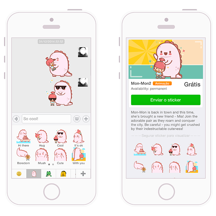 mon-mon cute kawaii stickers wechat mobile digital characters girl emoticons gif kids