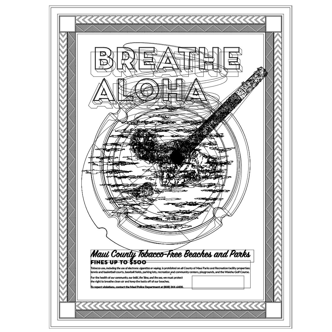 psa ILLUSTRATION  Tobacco-free HAWAII maui poster cigarette Public Health graphic design  public service announcement