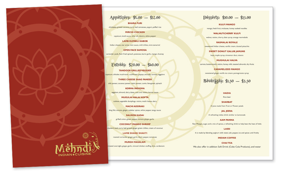 Mehndi Menu : Mehndi restaurant logo and menu on behance