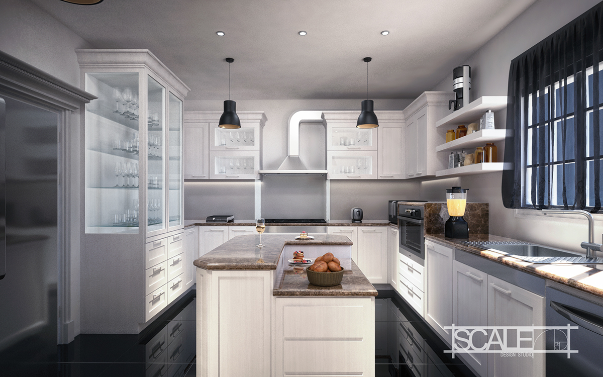 White Classic Kitchen Design On Behance