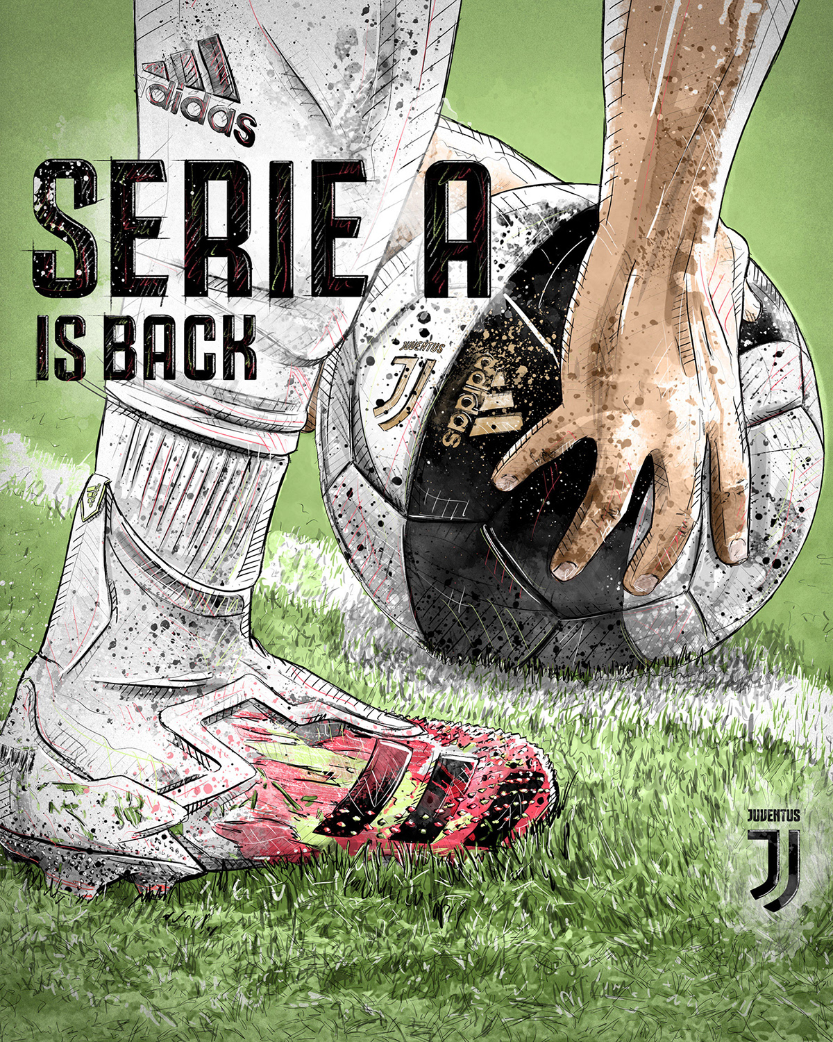 Dynamic sport/football illustration for Juventus and Serie A
