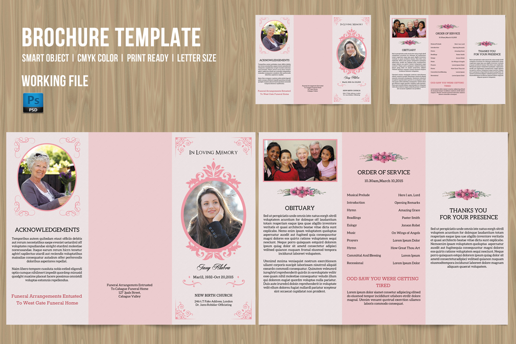 Trifold Funeral Program Template On Behance