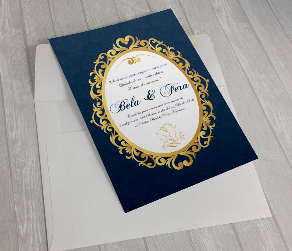 convite convite de casamento disney bela e fera