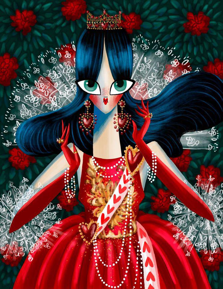 queen of hearts kill bill beatrix kiddo breakfast tiffanys Tarantino catwoman batman alice wonderland queen Uma Thurman Georgina Chávez fanart