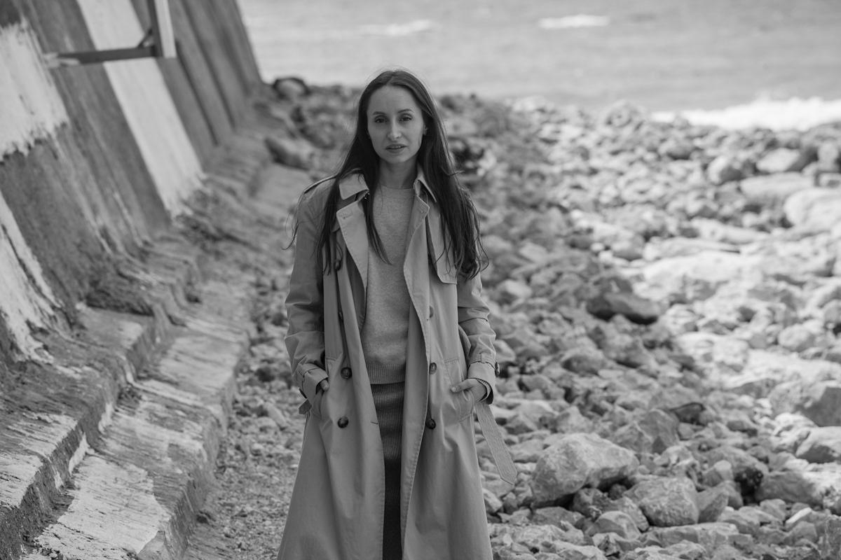 black white Fashion  portrait sea