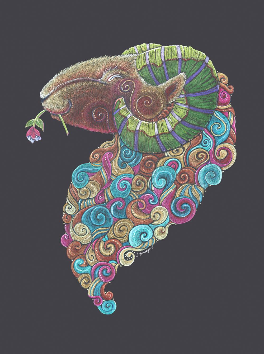 Ram Totem by Jennifer Hawkyard