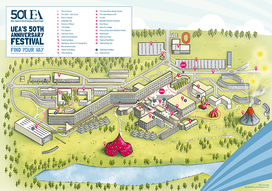uea map of campus Uea 50th Anniversary Map On Behance uea map of campus