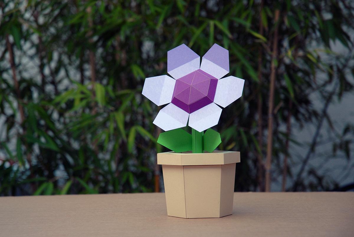 Pot flower purple diy papercraft kit on behance pot flower purple diy papercraft kit pre cut mightylinksfo