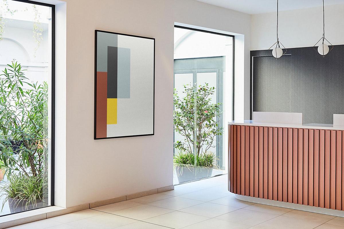 Artworks in Paris. Piet Mondrian inspired artwork. Reception. Crowne Plaza Paris Republique