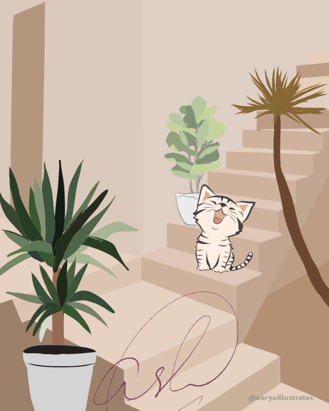 cat illustration,Digital Art ,ILLUSTRATION ,vector art,Vis Dev