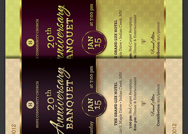 church anniversary banquet ticket template on behance