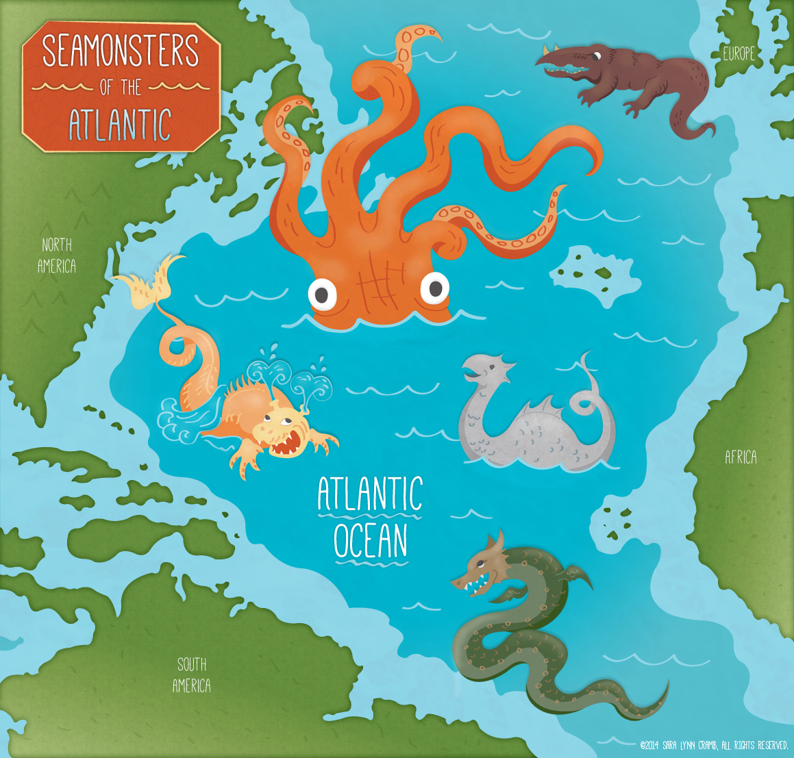 . sea monsters of the atlantic ocean map on behance