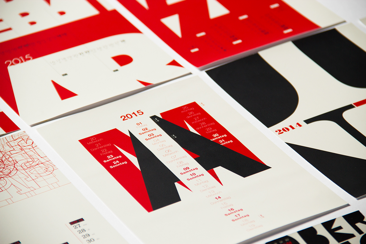typography calendar 2015 on behance