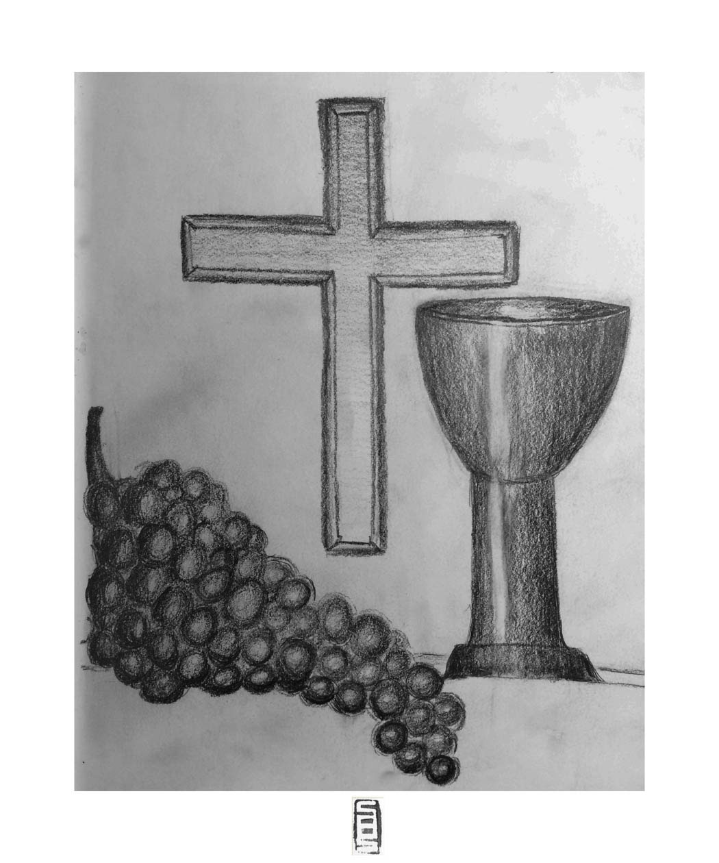 A pencil drawing of christian symbols on behance