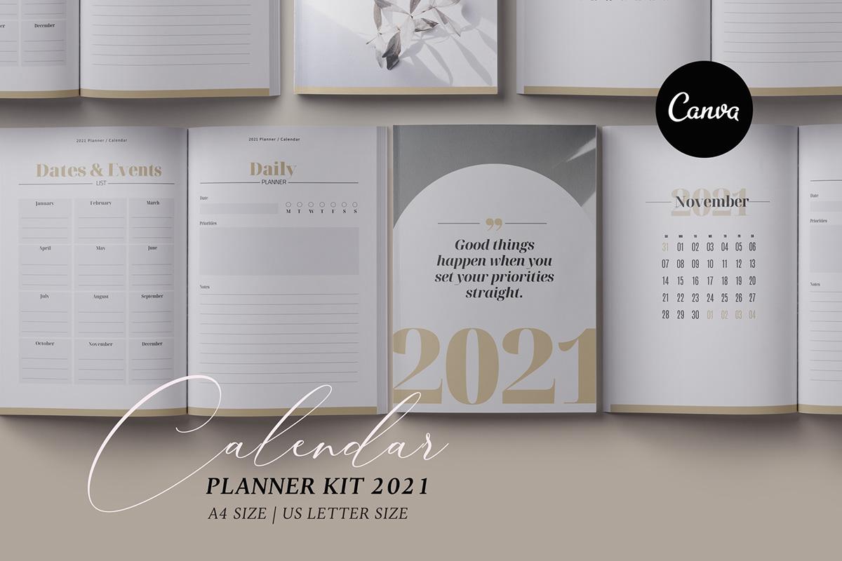 Canva Planner & 2021 Calendar kit on Behance