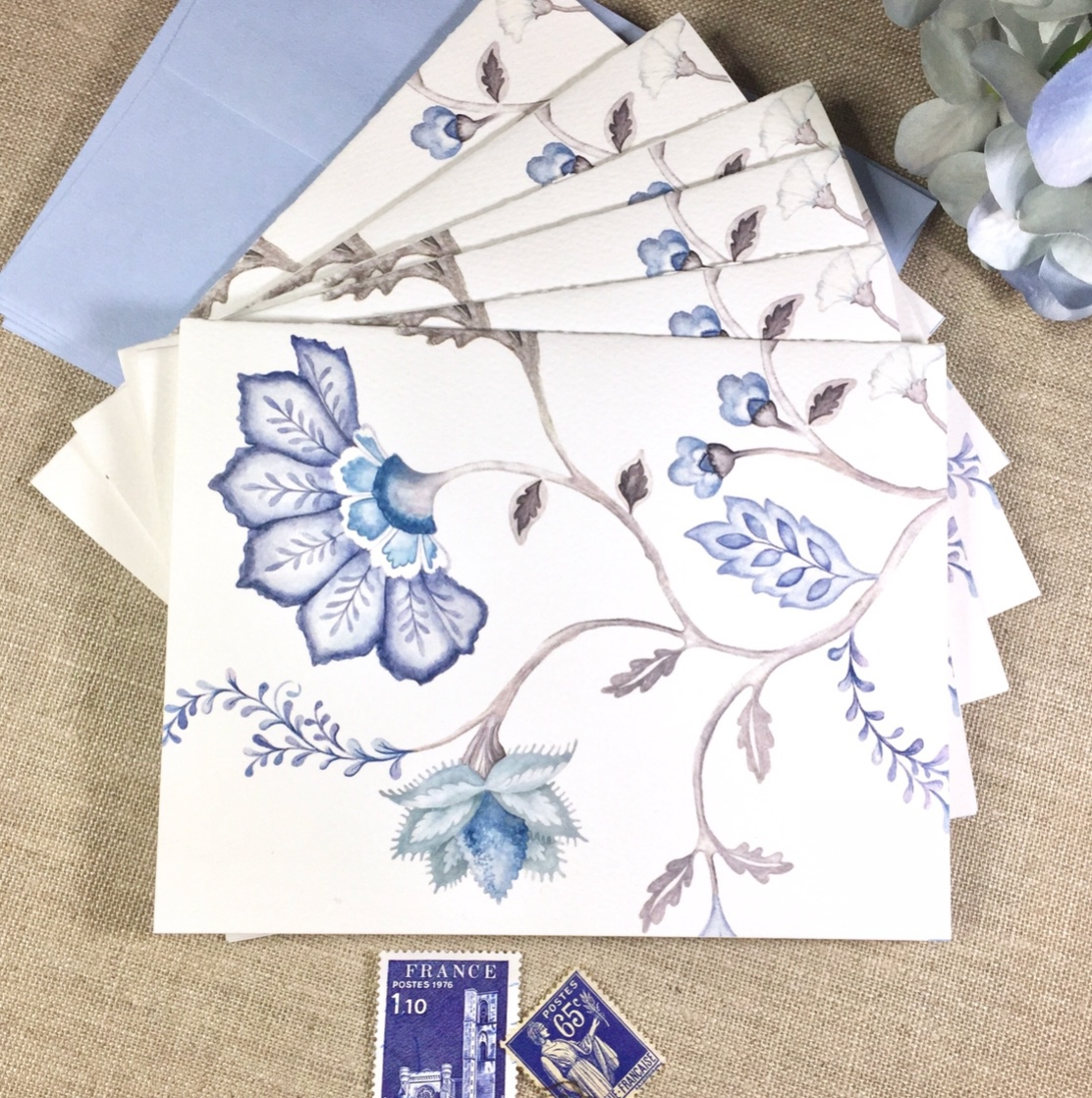 jacobean floral blue and White traditional Hand Painted fabric textile wallpaper gift wrap Stationery pattern