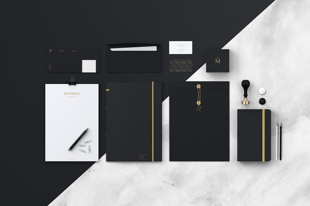montreux city brand luxe identity logo gold black pattern stationary territorial design graphic font Mockup