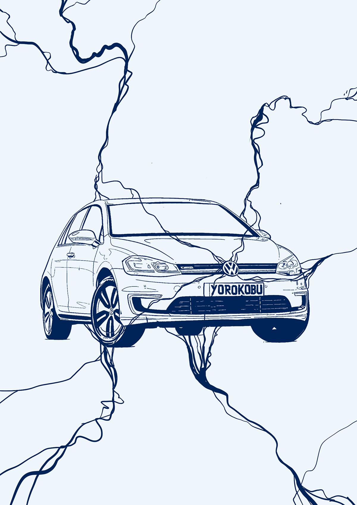 car contest design golf ILLUSTRATION  lettering volkswagen yorokobu