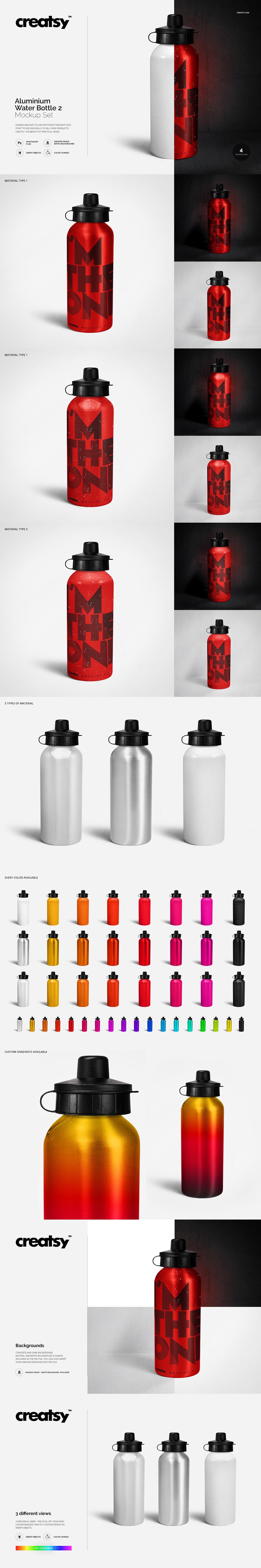 e538bb9daa528 Aluminium Water Bottle 2 Mockup Set on Behance