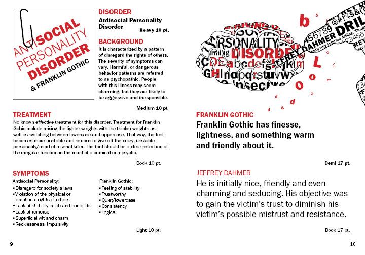 Jeffrey Dahmer/Franklin Gothic Specimen Book on Behance