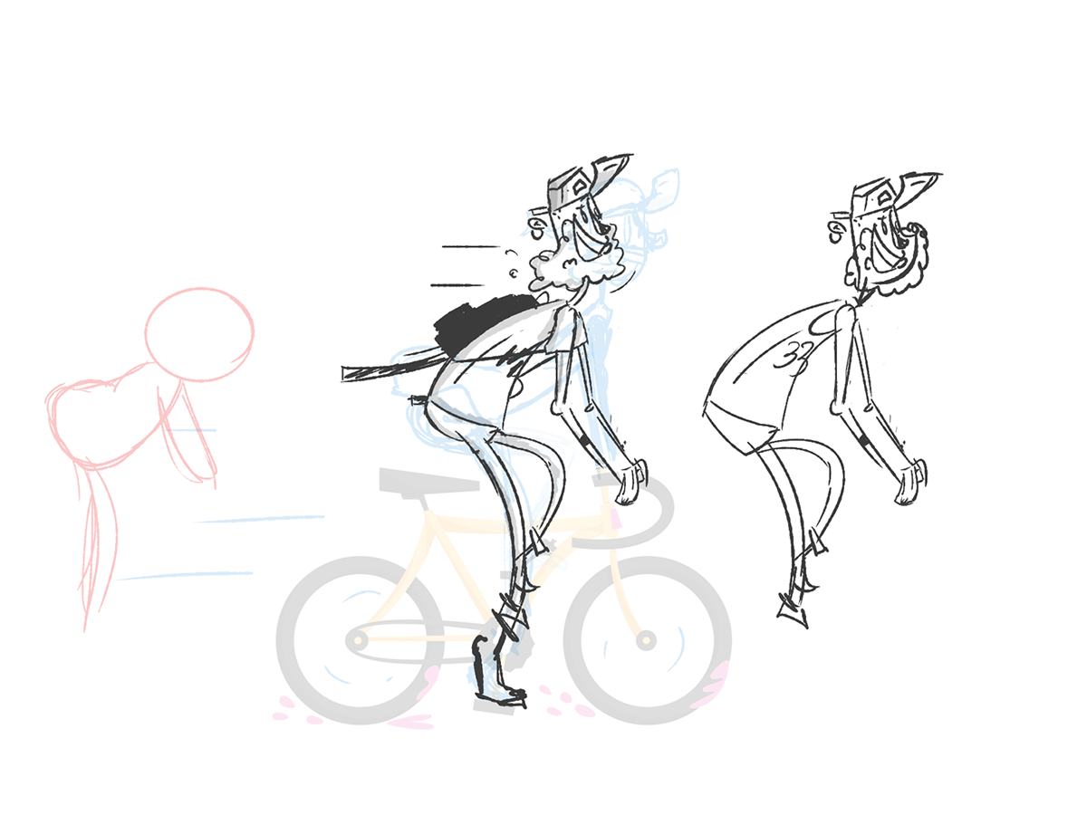 Bike biker gif 2D bmx MoGraph after effects Bicycle beard Hipster messenger bike loop cycle