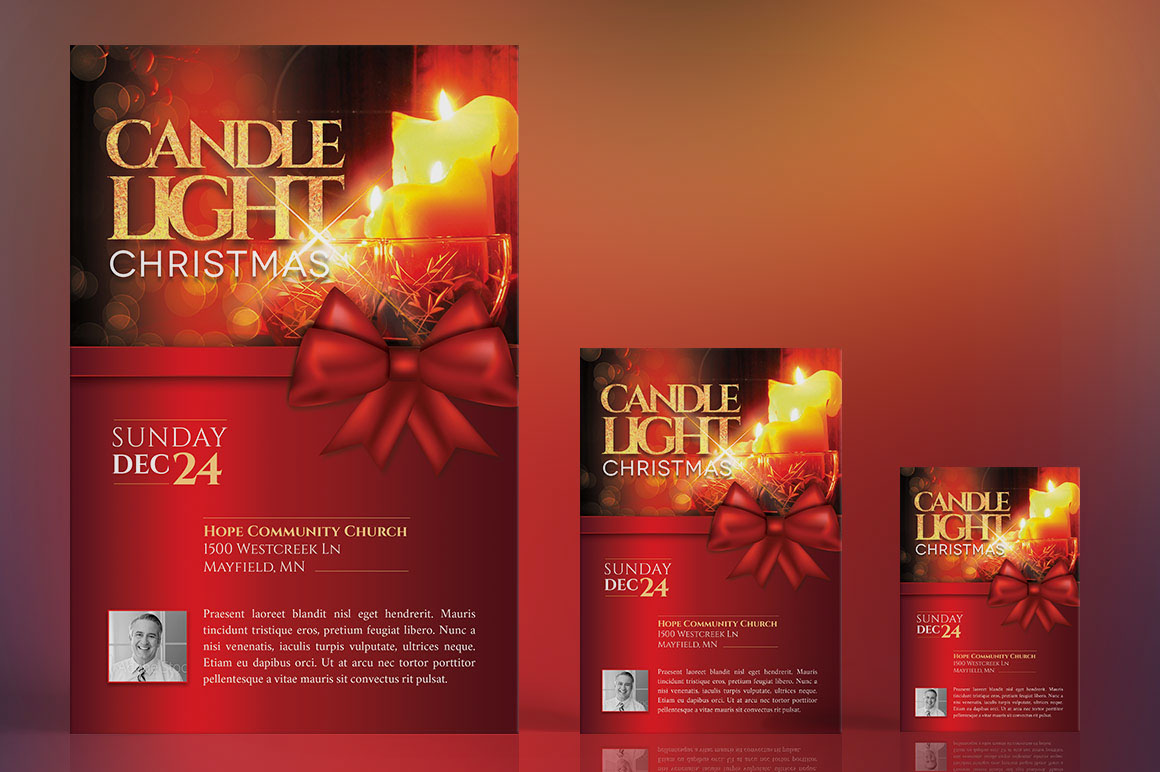 christmas candle light flyer poster template on behance