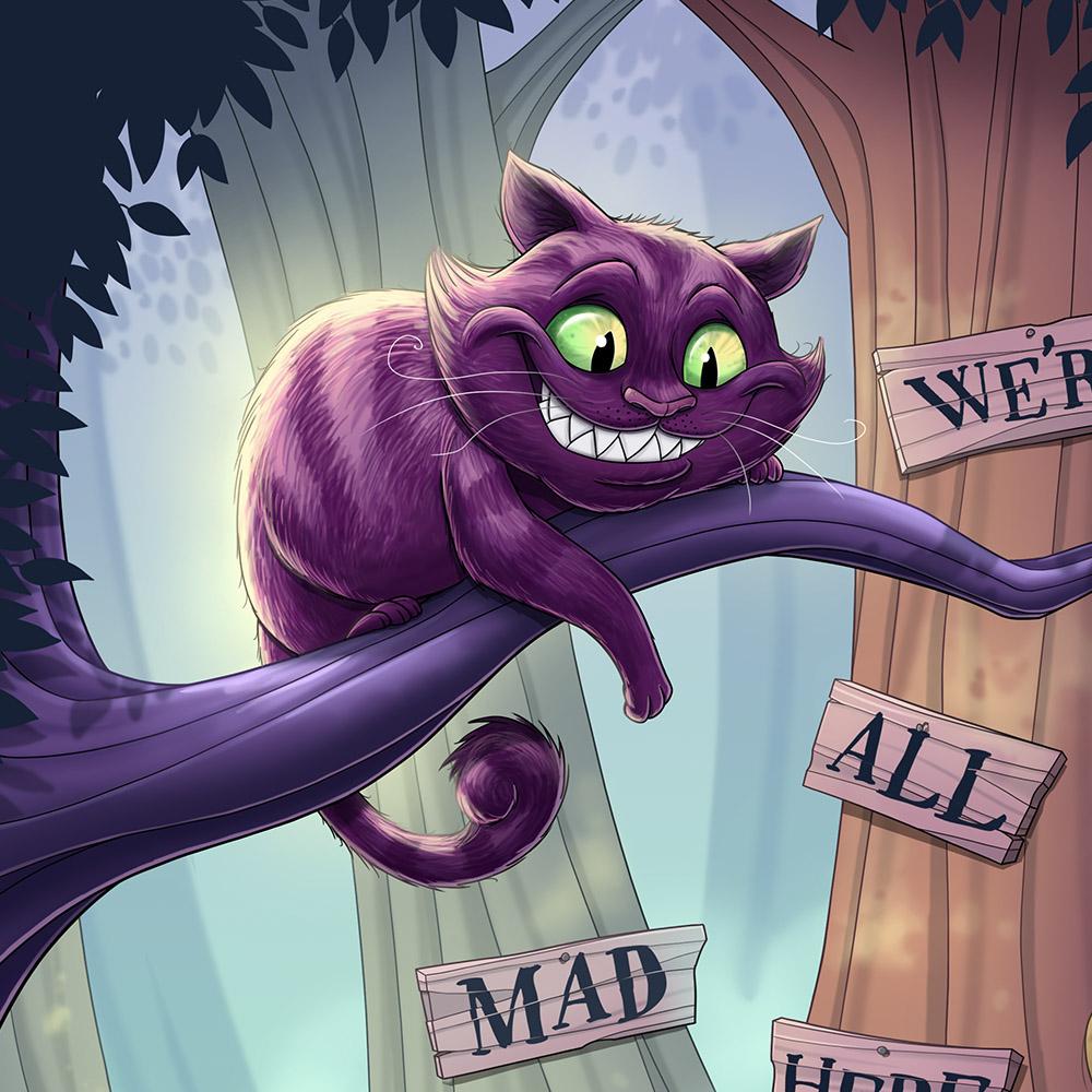 ILLUSTRATION  Digital Art  aliceinwonderland children's book art story alice Cat white rabbit