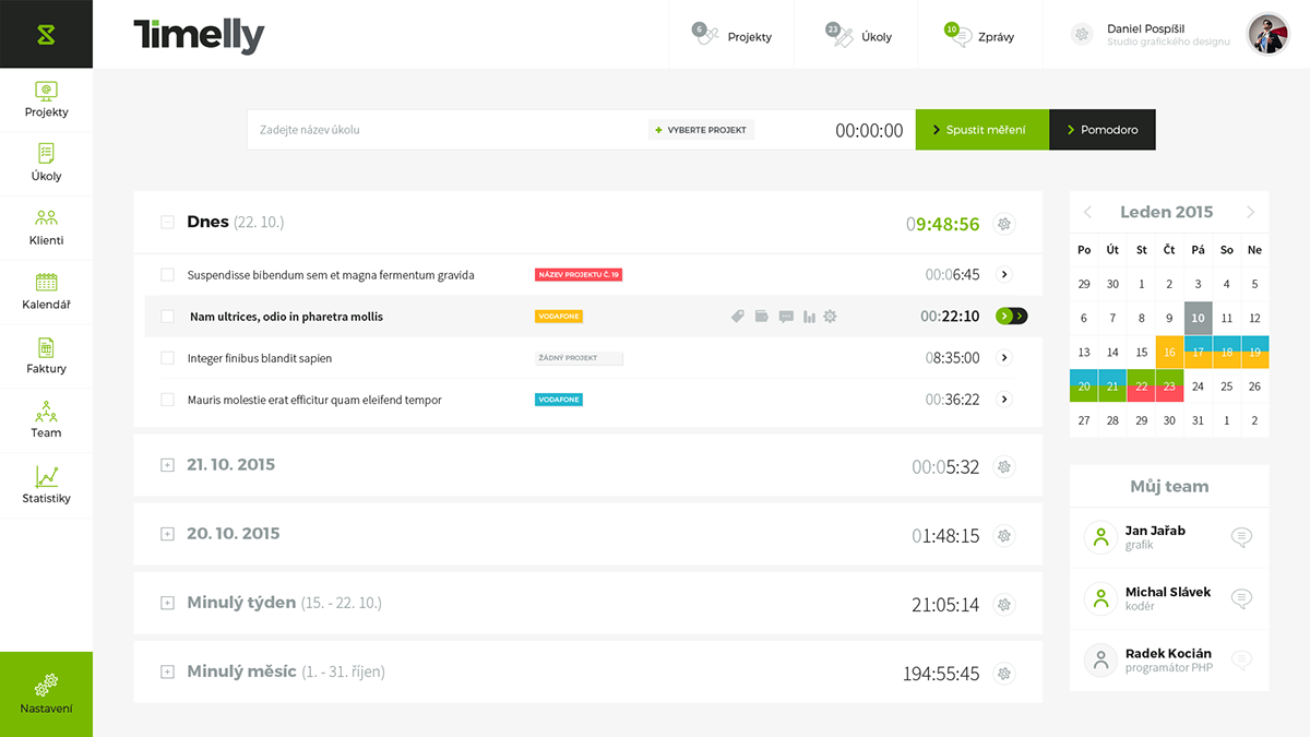 time management Webdesign UI concept