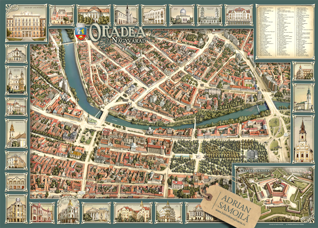 Illustrated Map Of Oradea On Behance - Oradea map