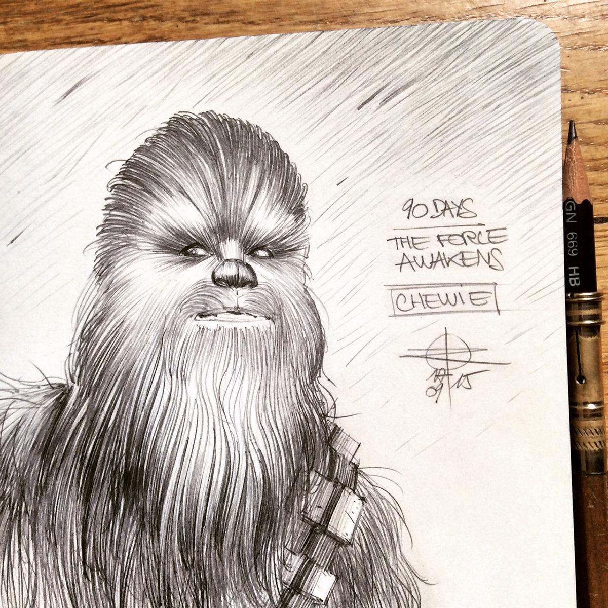 Adobe Portfolio star wars The Force Awakens countdown sketchbook moleskine millennium falcon kylo ren darth vader jedi lightsaber Han Solo luke skywalker rey Finn poe dameron