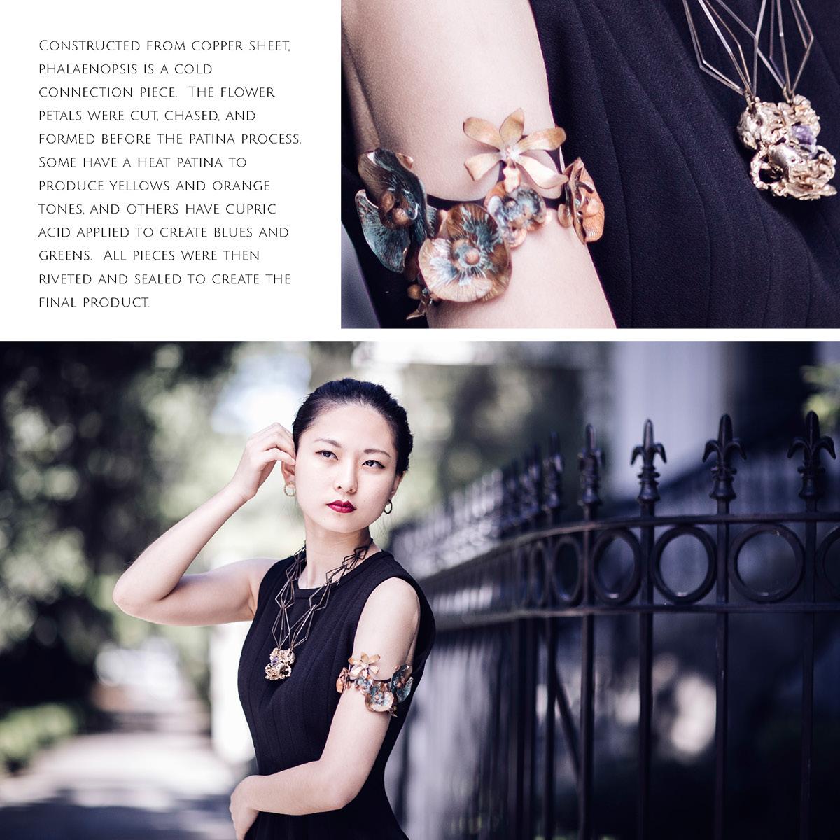 jewelry flower floral cuff bracelet patina riveting art design Beautiful