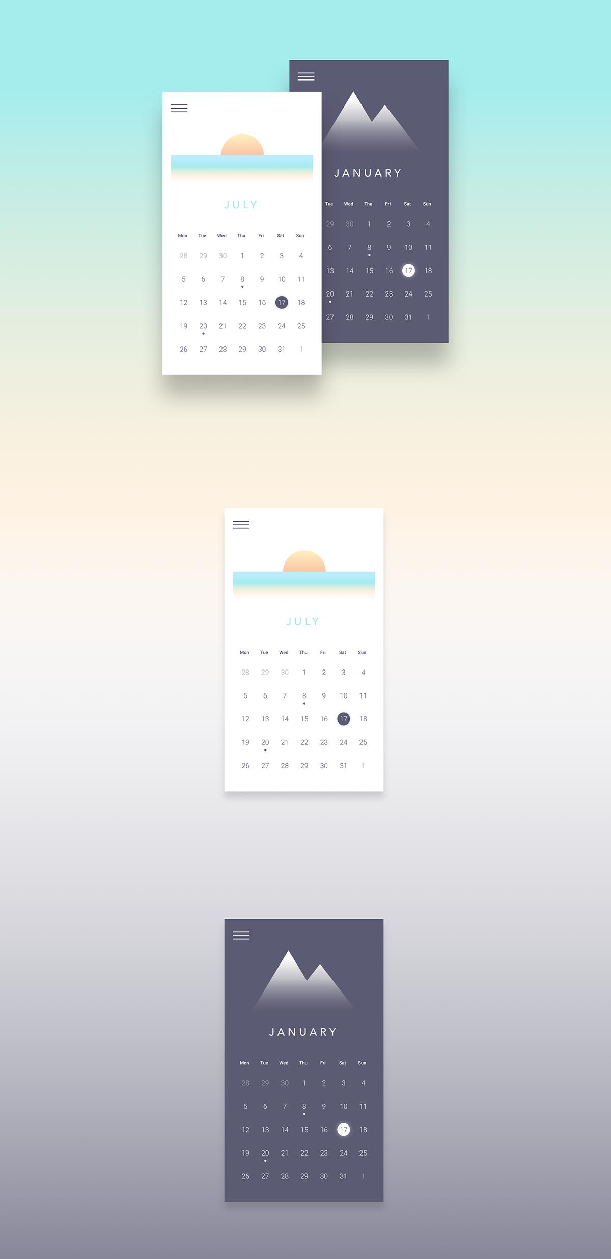 calendar app mobile minimalist design UI ux Interface Webdesign daily ui
