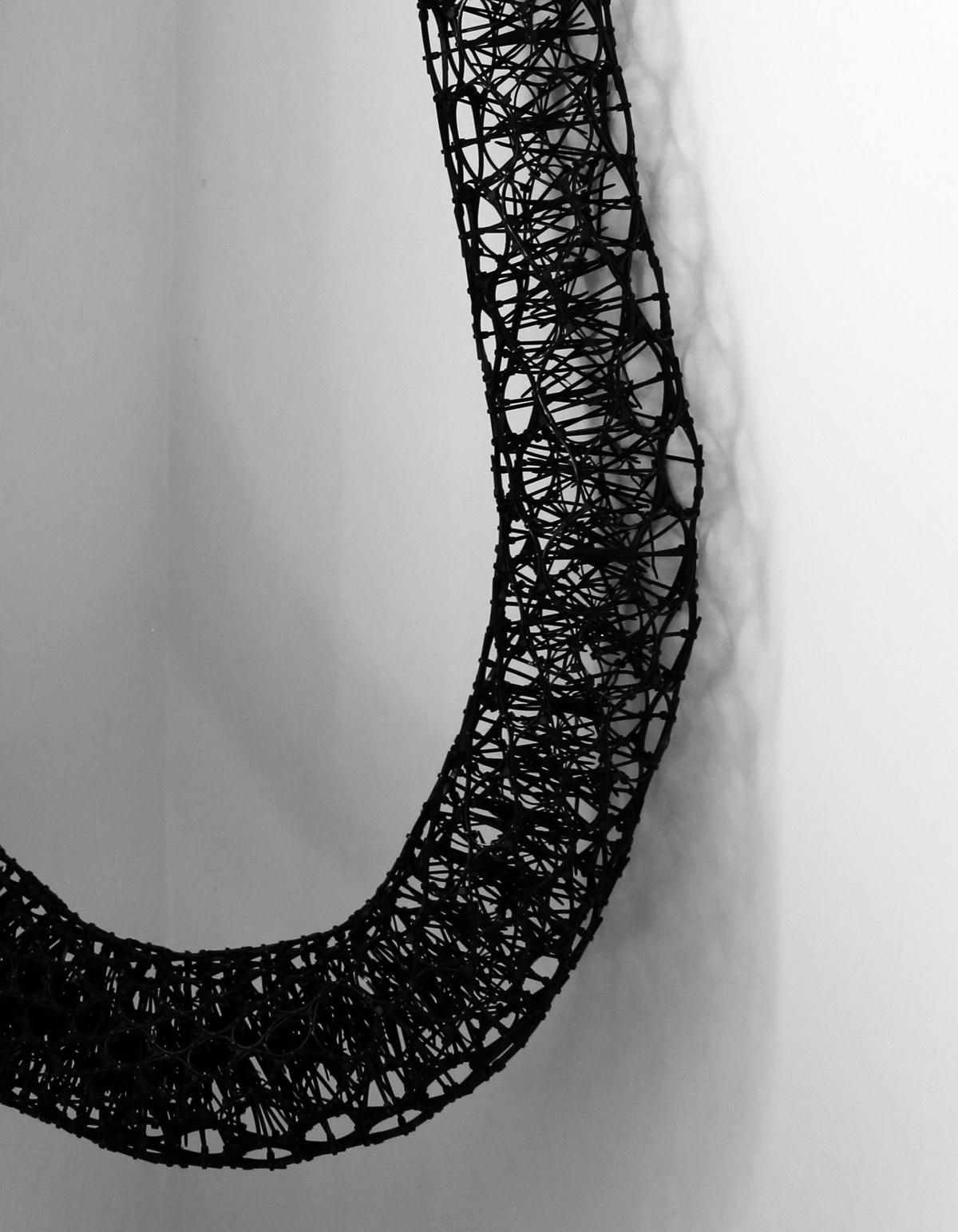 art art contemporary art black and white cable ties fiber art key hole sculpture textile art visual art zip ties