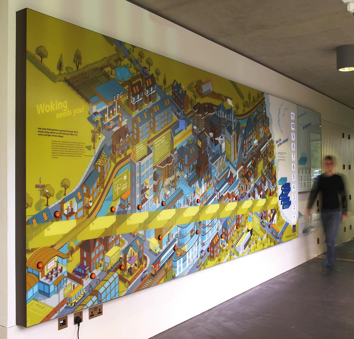 Lightbox interactive environmental graphic display on behance for Environmental graphics giant world map wall mural