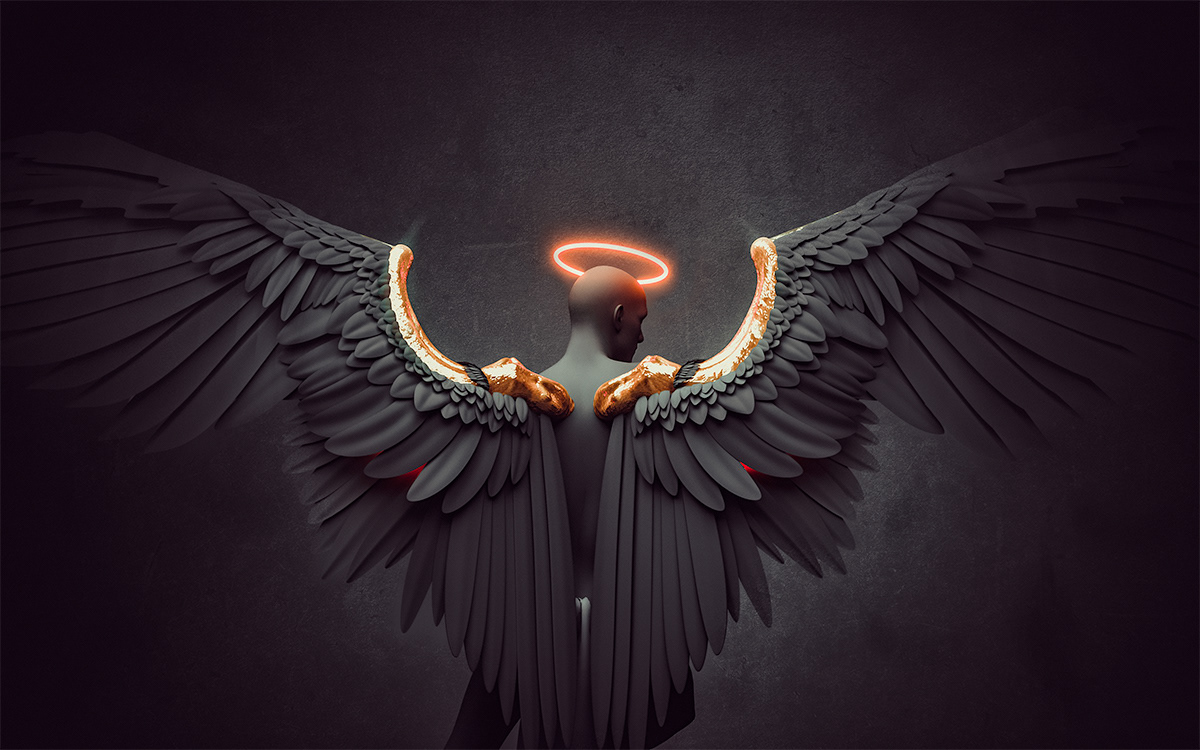 angel with black wings and gold
