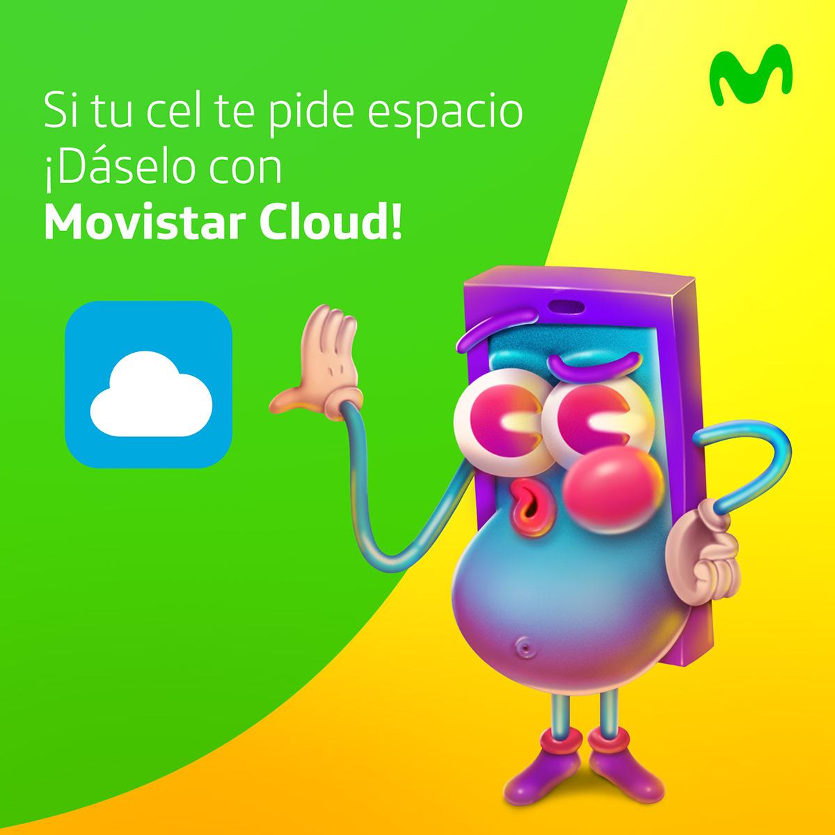 movistar,Ecuador,celulares,digital,facebook,Desmuncubic,redes sociales,ilustracion,animacion,phone