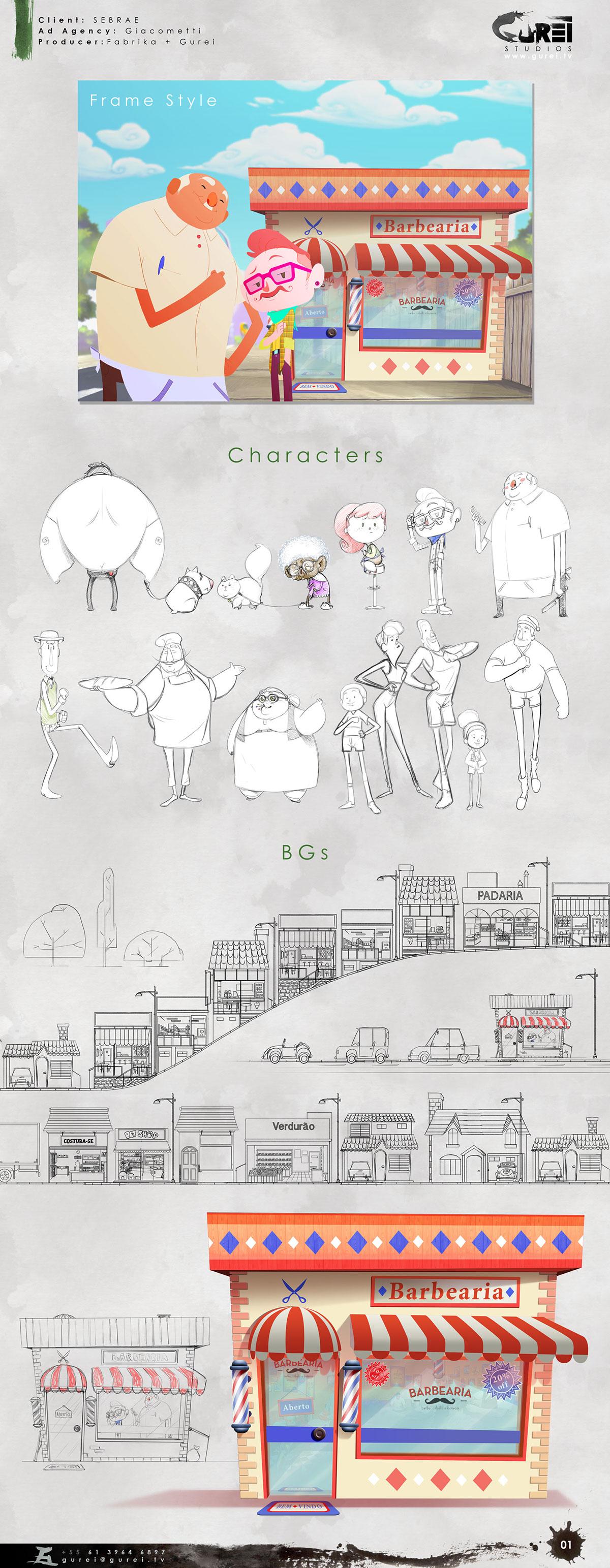 animação 2D Cartoon SEBRAE studio gurei pequeno negócio animation animatic storyboard cute barbeiro barbearia mercearia Small Bussiness