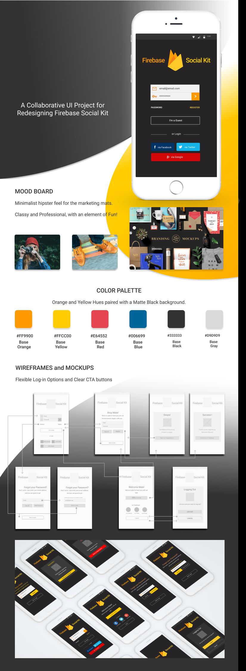 UI firebase login login page wireframe Mockup color palette Hipster