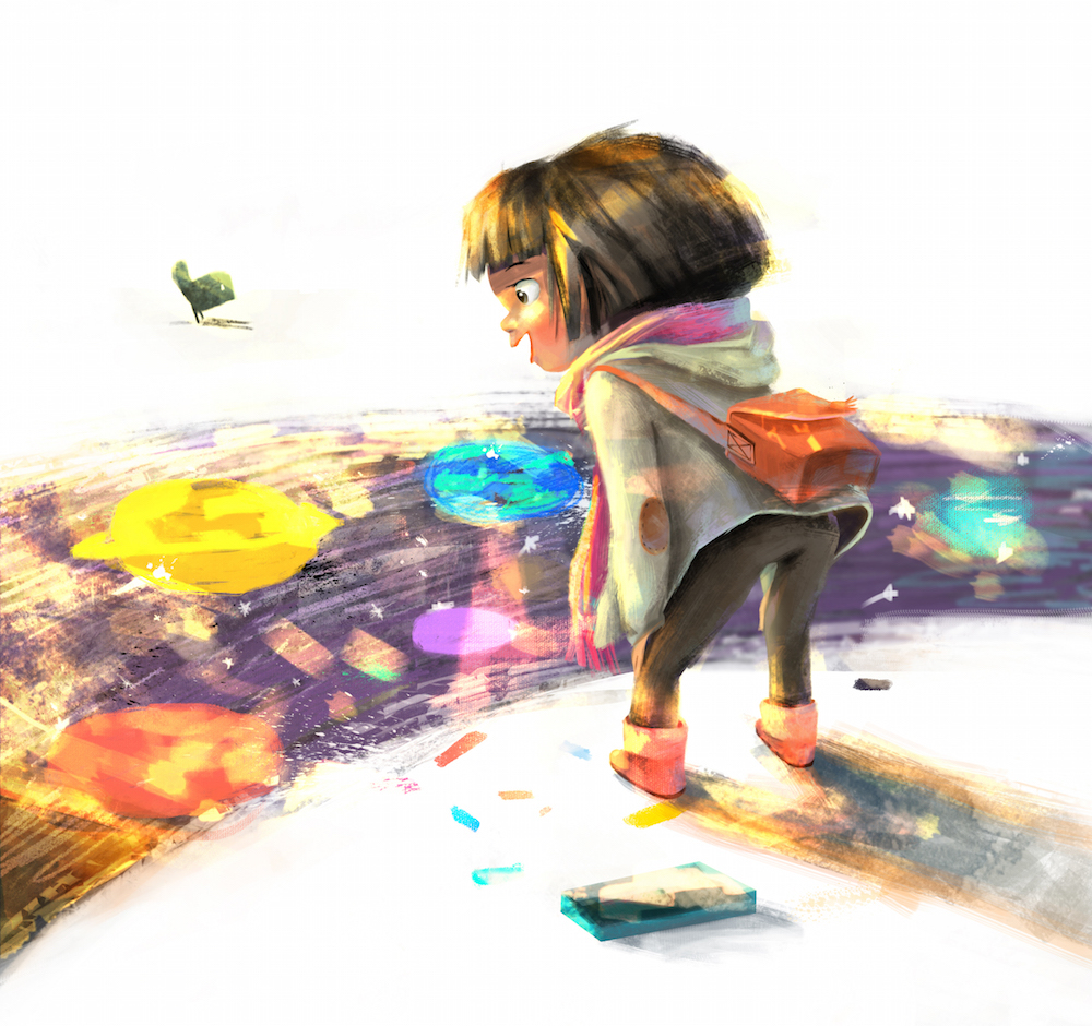 girl wacom color kid book watercolor pencil game sketch doodle flower environment