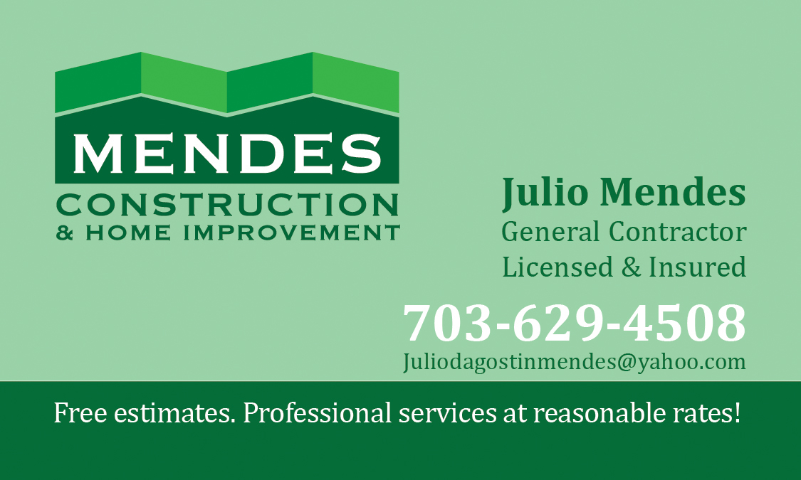 Mendes construction home improvement on behance brand design for a small construction company in the washington dc area logo and business card designs shown here reheart Image collections