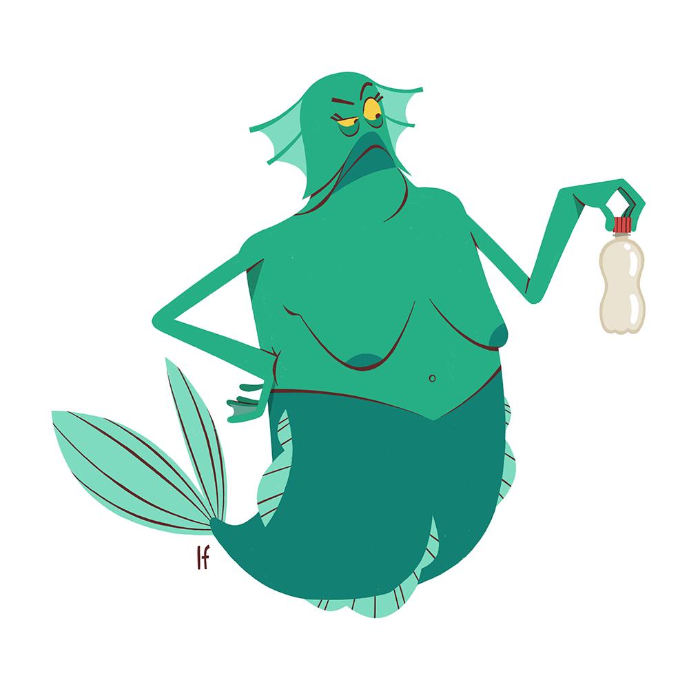 characterdesign climate mermaid Merman Ocean plastic political pollution sea zerowaste