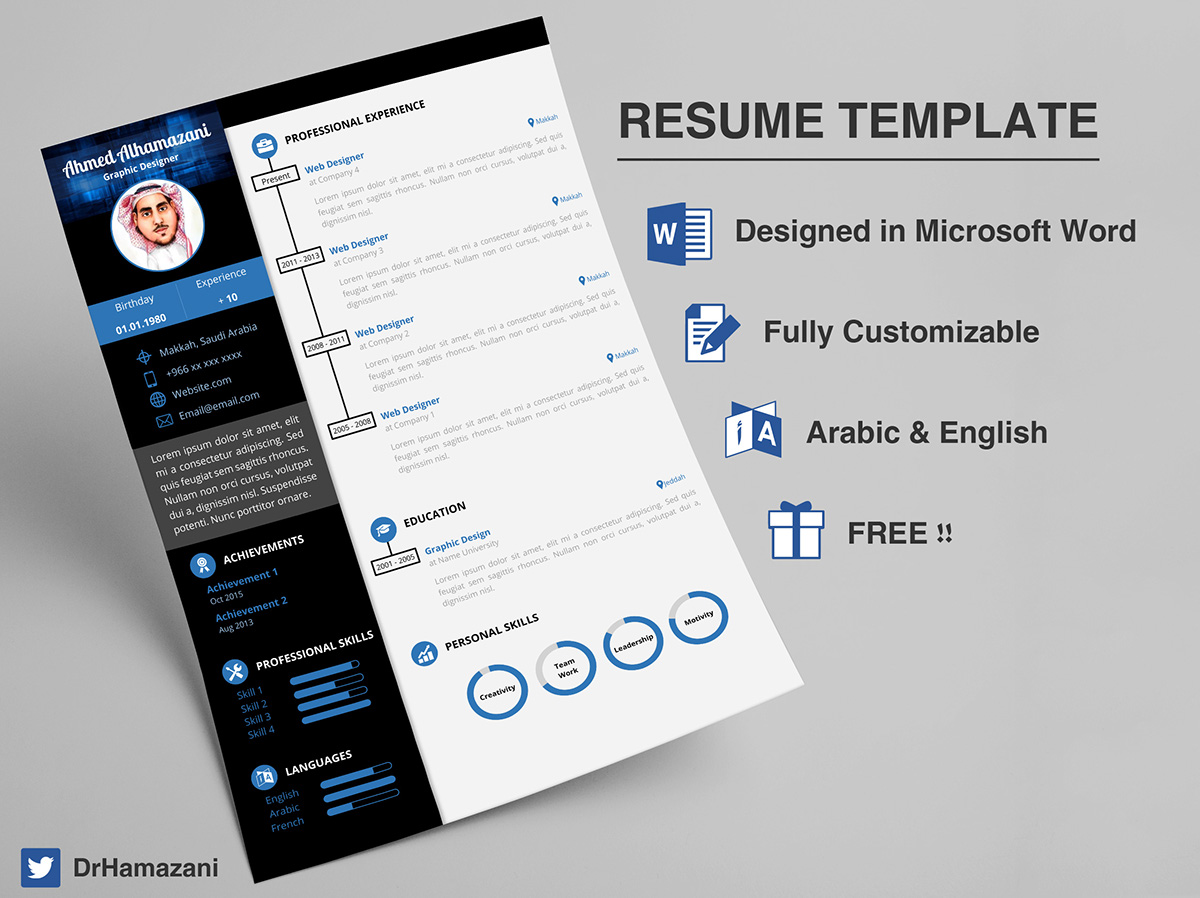 if you are looking for a uniqe resume that could be easely edited and could represent you if you know how to use microsoft word then this template is sure - Resume Template Free