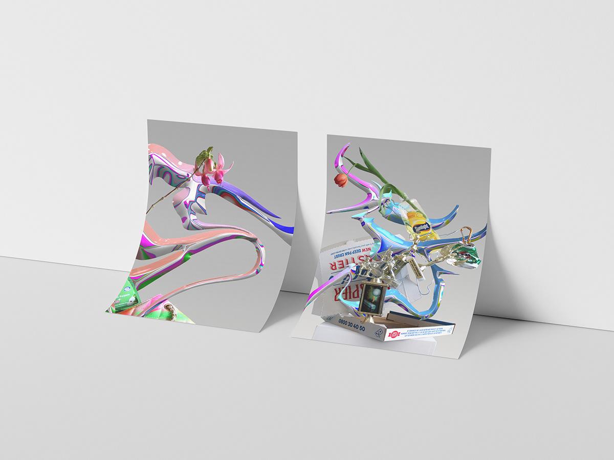 3d render blender chrome flower graphic design  max mollison New Zealand Photography  sculpture still life