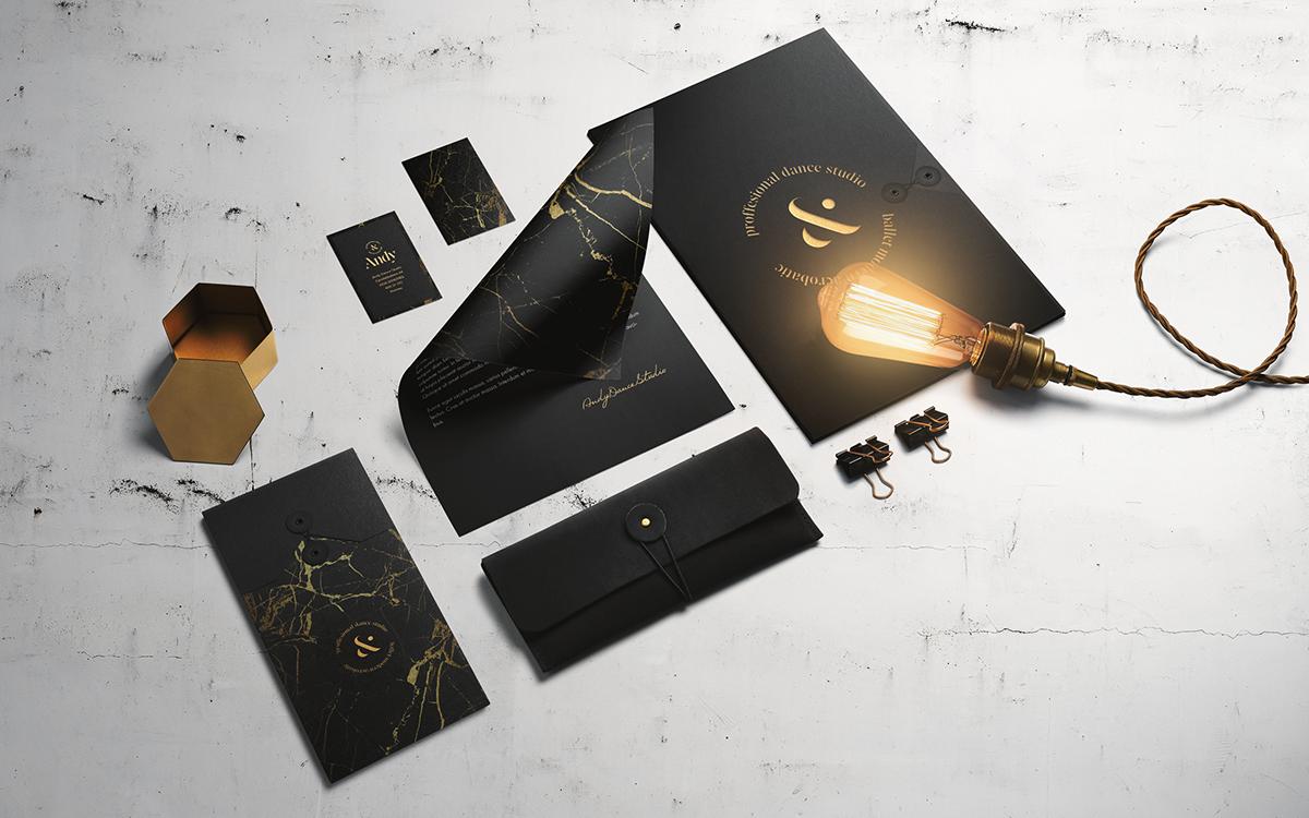 logo Logo Design branding  gold Marble elegant DANCE   brand identity stationary studio