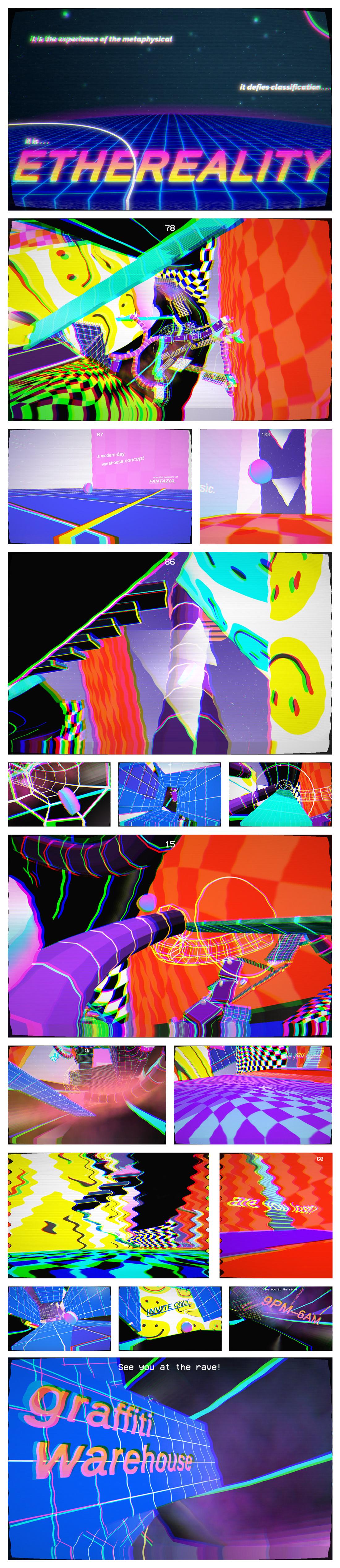 rave interactive flyer  nostalgia experimental graphic design 3d Poster retro design New Wave web art trippy adobeawards