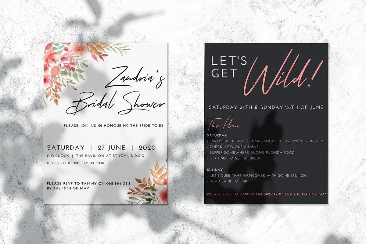 Bachelorette and Bridal Shower Invitation