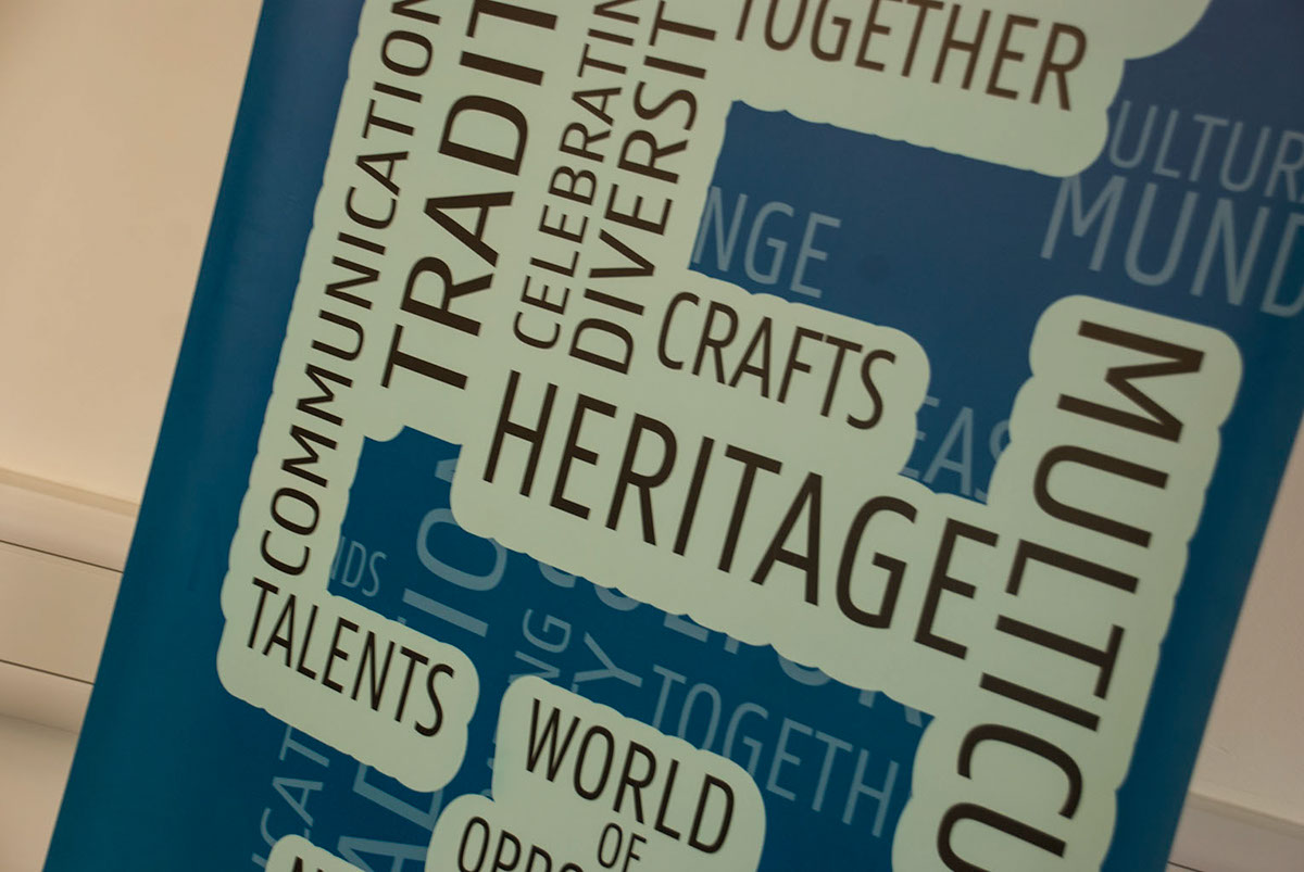 Pull up banner splash screen Badges recruitment posters multicultural flags Testimonial leaflet